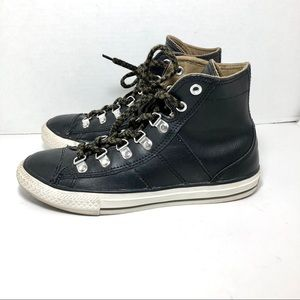 Converse High Top Black Leather Sneakers Sz4